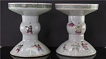 PAIR OF CHINESE PORCELAIN FAMILLE ROSE CANDLE HOLDER