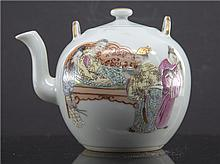TWO CHINESE PORCELAIN FAMILLE ROSE TEAPOTS