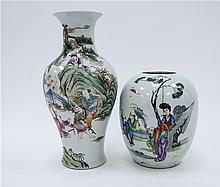 CHINESE PORCELAIN FAMILLE ROSE VASE WITH A JAR