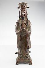 CHINESE WOOD LACQUERED STAND OFFICIAL FIGURE