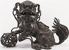 CHINESE BRONZE LION INCENSER BURNER