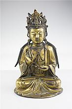 CHINESE GILDED BRONZE GUANYIN FIGURE