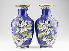 PAIR OF CHINESE CLOSIONNE VASES