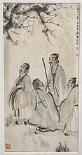 CHINESE FRAMED PAINTING OF PEOPLE GARTHERING