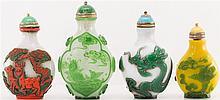 4 CHINESE PEKING GLASS INLAID SNUFF BOTTLES
