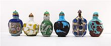 6 CHINESE PEKING GLASS SNUFF BOTTLES