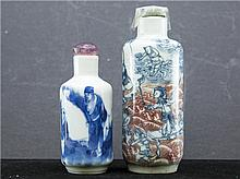 TWO CHINESE WHITE AND BLUE SNUFF BOTTLES