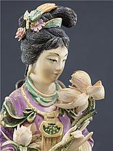CHINESE POLYCHROME IVORY FIGURE OF LADY