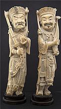 PAIR OF CHINESE IVORY STANDING WARRIORS