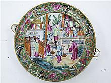 CHINESE EXPORT PORCELAIN FAMILLE ROSE WARMING DISH