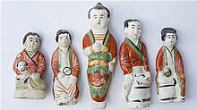 5 PIECES OF CHINESE POTTERY FIGURES