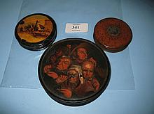 19th Century circular snuff box, hand painted with