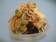 Group of modern bisque miniature dolls and two sma