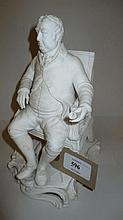 19th Century bisque figure of a seated poet, 7.5in