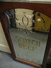 19th Century mahogany framed Scotch Beef advertisi