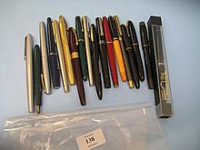 Quantity of various fountain pens