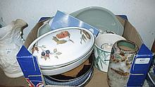 Royal Doulton stoneware vase, three items of Poole