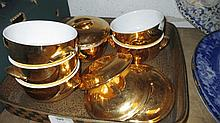 Set of six Royal Worcester gold lustre ware pots a