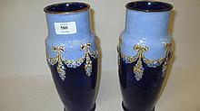 Pair of Royal Doulton baluster form vases, 10.5ins