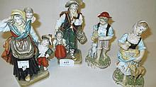 Group of four various Continental porcelain figure