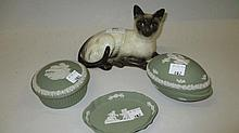 Royal Doulton figure of a Siamese cat and three it