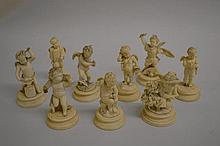 Group of nine small 19th Century carved ivory figu