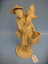 Large late 19th Century Japanese carved ivory figu