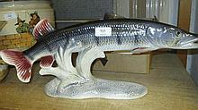 Large lustre glazed pottery figure of a pike, two