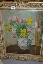 Howard Bowen, oil on canvas, still life, spring fl