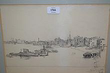 Framed graphite drawing, Thames shipping scene, in