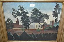 Modern British oil on canvas of a house in a lands