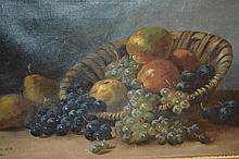 Edward Huber, oil on canvas, still life, fruit in