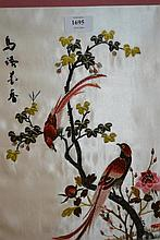 Group of six oriental silk embroidered pictures