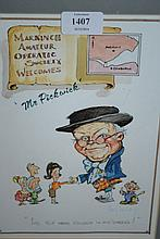 Harry Fairbairn, watercolour caricature, ' Mr Pick