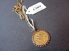 1897 Victorian half sovereign with 9ct gold mount