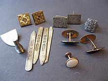Pair of sterling silver and enamel cufflinks, vari