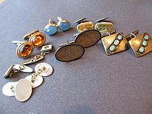 Quantity of various silver cufflinks
