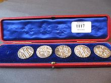Set of five Chester cast silver buttons decorated
