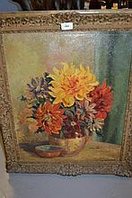 Ann Garland, oil on canvas, still life, flowers in