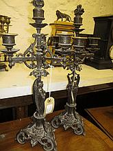 Pair of late 19th Century patinated spelter four b