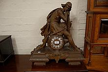 Large 19th Century spelter mantel clock mounted wi