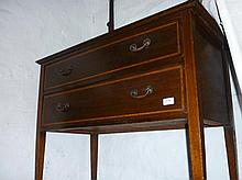 Edwardian mahogany line inlaid dressing table with