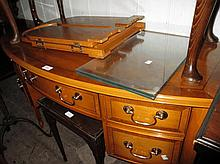 Reproduction yew wood bow front dressing table wit