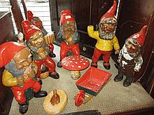 Group of five painted plaster figures of garden gn