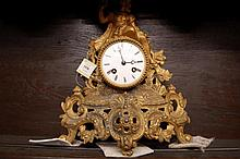 19th Century gilded spelter figural mantel clock w