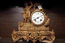 19th Century gilded spelter figural mantel clock,