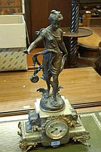 19th Century French patinated spelter and green on