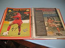 Red folder containing a collection of various signed Crystal Palace programmes including some early 1960's signed programmes including Ray Clemence, Trevor Brooking etc