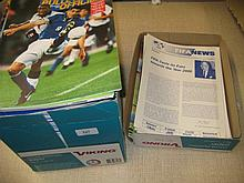Box containing a quantity of FIFA and UEFA magazines limited for distribution amongst journalists only