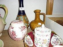 Masons pink transfer decorated ginger jar and cover, a Mintons preserve jar and cover, a Limoges dish and two items of Doulton stoneware